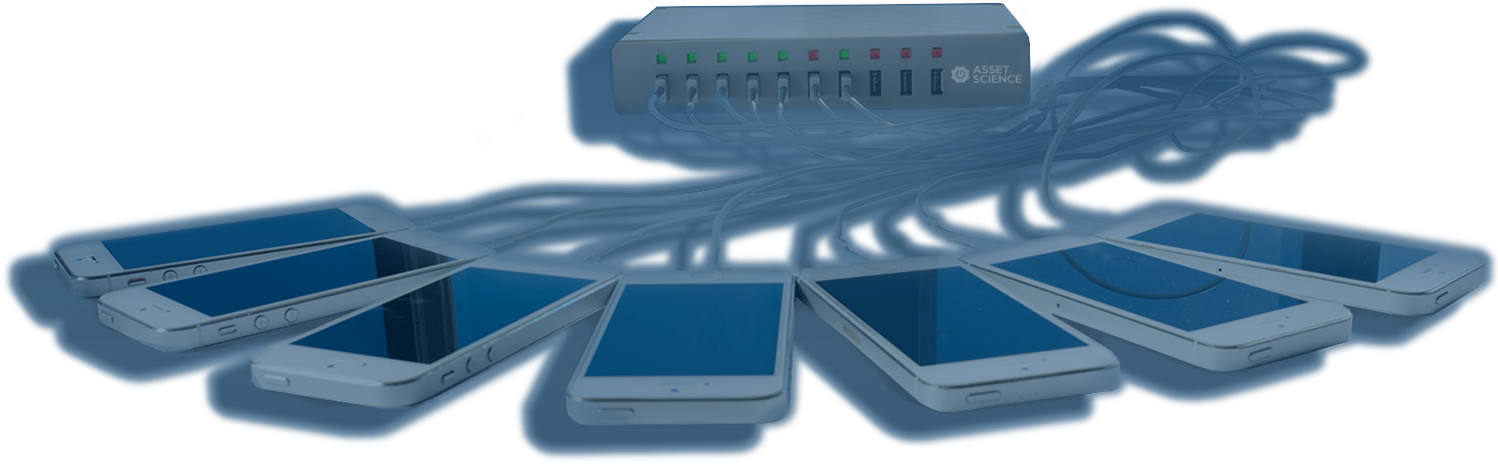 Asset Science hub with multiple iPhones connected