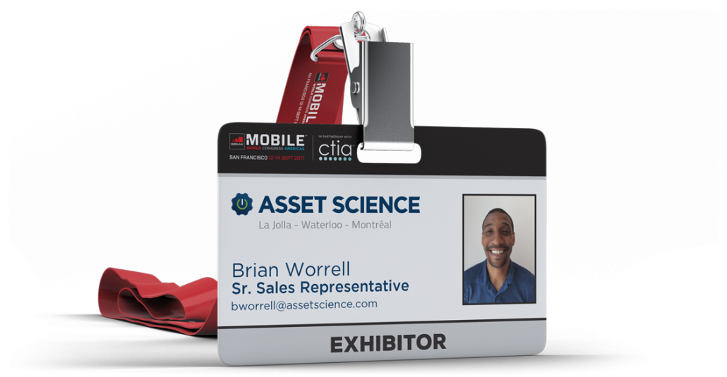 Asset Science Mobile World Congress Americas 2017 exhibitor ID badge