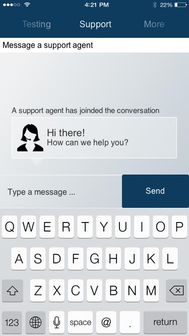 in-app customer support messaging
