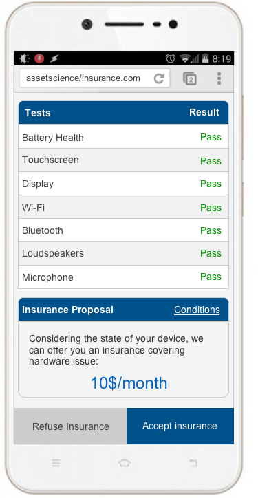 mobile device insurance appraisal application