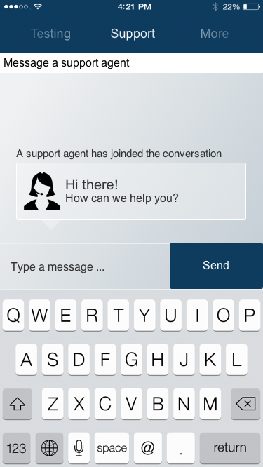 in-app customer support messaging